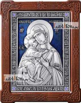 Феодоровская Божия Матерь, серебряная икона с эмалью, артикул 13178