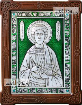 Целитель Пантелеимон, серебряная икона с эмалью, артикул 13176