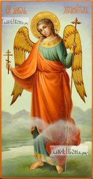Икона Ангела Хранителя (ростовое изображение), написанная маслом, артикул 712