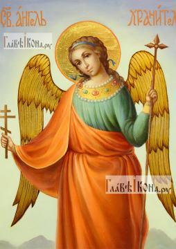 Икона Ангела Хранителя (ростовое изображение), маслом, артикул 712 - детали: лик образа