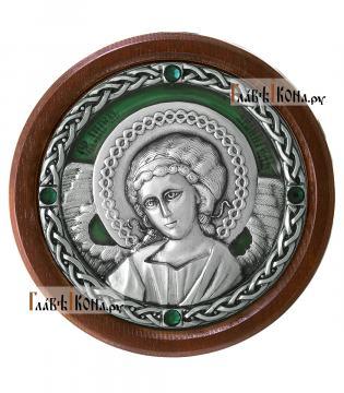 Икона-медальон в машину с образом Ангела Хранителя, артикул 13230 - цвет зеленый