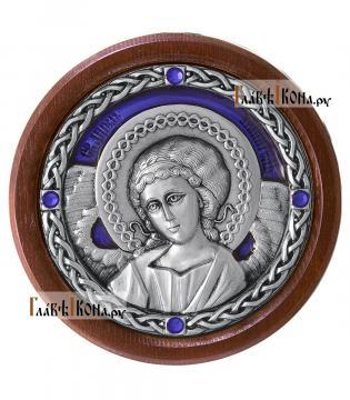 Икона-медальон в машину с образом Ангела Хранителя, артикул 13230 - цвет синий