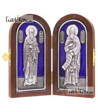 Складень с образами святых Кирилла и Мефодия, серебро, ювелирная эмаль