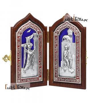"""Складень с посеребренными иконами и эмалью """"Благовещение Пресвятой Богородицы"""""""