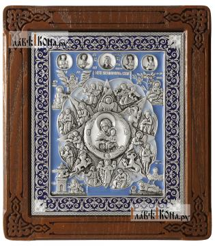 """Божия Матерь """"Неопалимая Купина"""" - икона серебряная с эмалью"""