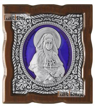 Серебряная икона с эмалью Арсении Усть-Медведицкой, артикул 13235