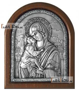 Серебряная икона Донской Божией Матерь, артикул 11236