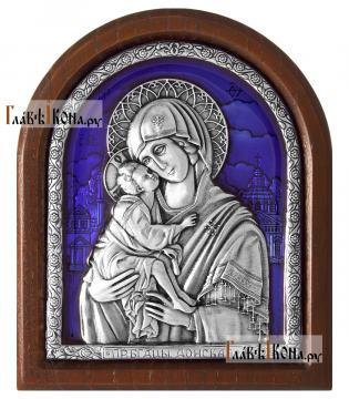 Серебряная икона Донской Божией Матерь (с эмалью), артикул 13236