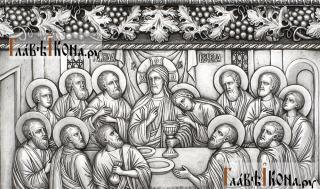 Тайная Вечеря, серебряная икона в деревянном киоте артикул 11238 - детали