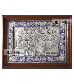 Тайная Вечеря, серебряная икона с эмалью артикул 13238