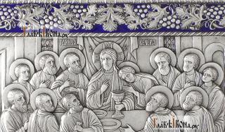 Тайная Вечеря, серебряная икона с эмалью артикул 13238 - детали