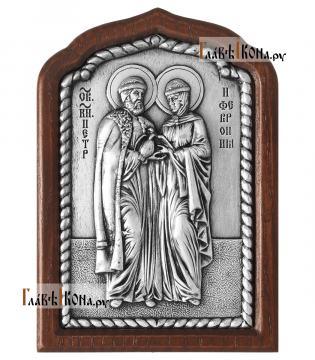 Благоверные Петр и Феврония, серебряная икона малая, артикул 11239