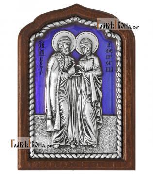 Петр и Феврония, серебряная икона с эмалью, малая, артикул 13239