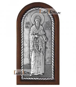 Святитель Спиридон Тримифунтский серебряная икона, артикул 11240