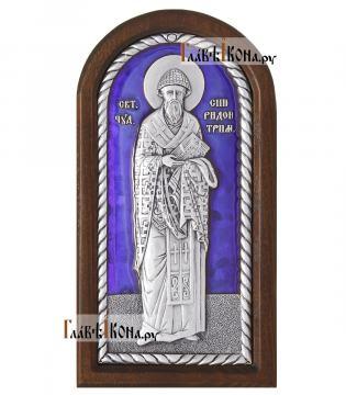 Спиридон Тримифунтский (ростовой) серебряная икона с эмалью, малая