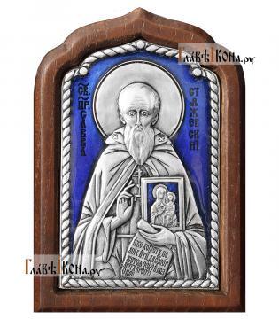 Савва Сторожевский, серебряная икона c эмалью, малая, артикул 13225