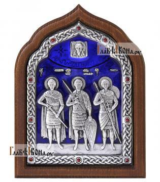 Три святых воина, серебряная икона с эмалью артикул 13206