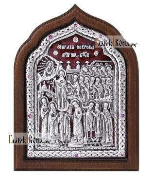 """Серебряная икона """"Покров Пресвятой Богородицы"""" в старинном стиле с эмалью"""