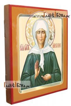 Писанная икона Матроны Московской, с золочением и узорами, артикул 6261 - вид сбоку