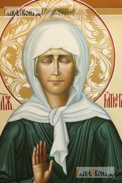 Писанная икона Матроны Московской, с золочением и узорами, артикул 6261 - лик святой