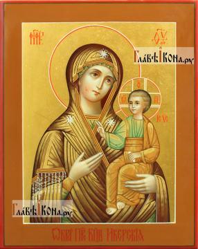 Иверская Божия Матерь, писаная икона с росписью твореным золотом