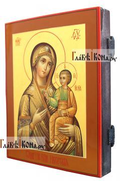 Иверская Божия Матерь, писаная икона с росписью твореным золотом - вид сбоку
