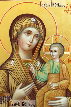 Иверская Божия Матерь, писаная икона с росписью твореным золотом - лики образов