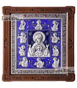 Курская Коренная Знамение - икона серебряная с эмалью, артикул 13221