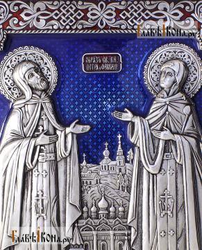 Петр и Феврония, большая серебряная икона с ювелирной эмалью, артикул 13222 - лики святых