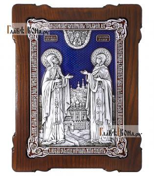 Большая серебряная икона Петра и Февронии фигруной фолрмы с эмалью, артикул 13220