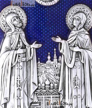 Большая серебряная икона Петра и Февронии фигруной фолрмы с эмалью, артикул 13220 - лики святых
