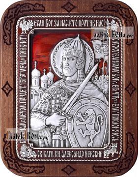 Александр Невский, икона из серебра с красной эмалью, артикул 13226