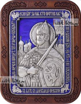 Александр Невский, икона из серебра с синей эмалью, артикул 13226