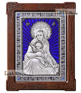 """Серебряная икона """"Милостивая"""" Божия Матерь (Киккская), с эмалью, артикул 13212"""