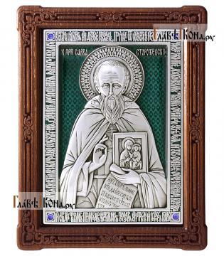 Савва Сторожевский преподобный, икона из серебра с эмалью, артикул 13211