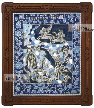 Святой Илья Пророк, икона серебряная с эмалью, артикул 13208