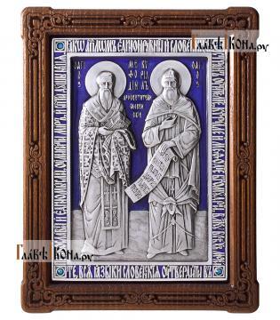 Святые Кирилл и Мефодий, серебряная икона с эмалью, артикул 13204