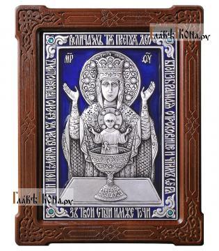 """Серебряная икона с эмалью """"Неупиваемая Чаша"""", артикул 13201"""