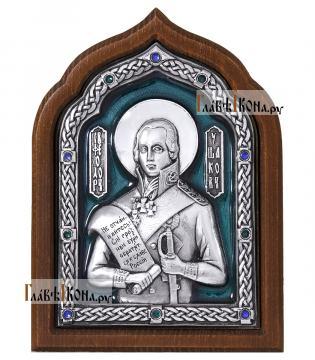 Феодор Ушаков, икона серебряная с эмалью, артикул 13195