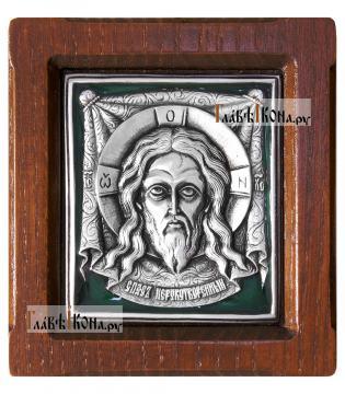 Образ Спаса Нерукотворного, серебряная икона с эмалью, артикул 13131