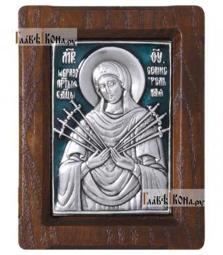 Образ Семистрельной Божией Матери, серебряная икона с эмалью, артикул 13125