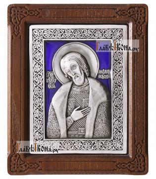 Александр Невский, серебряная иконас эмалью, артикул 13115