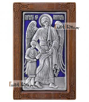 нгел Хранитель (с дитем), серебряная икона с эмалью, артикул 13112