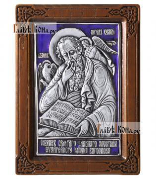 Иоанн Богослов, серебряная икона в рамке, с эмалью, артикул 13111