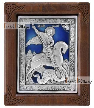 Серебряная икона Георгия Победоносца размером 10х12 см в деревянной рамке