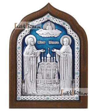 Петр и Феврония, серебряная икона с эмалью, артикул 13167