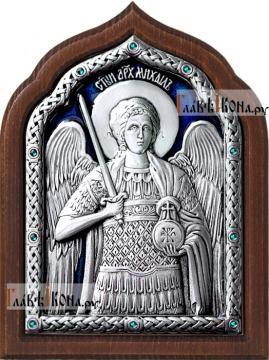 Архангел Михаил, икона серебряная с эмалью, артикул 13173