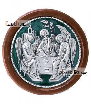 Троица, икона из серебра круглая, покрытая эмалью, в рамке, артикул 13142