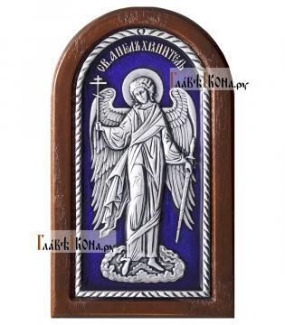 Ангел Хранитель, икона из серебра покрытая эмалью, артикул 13127