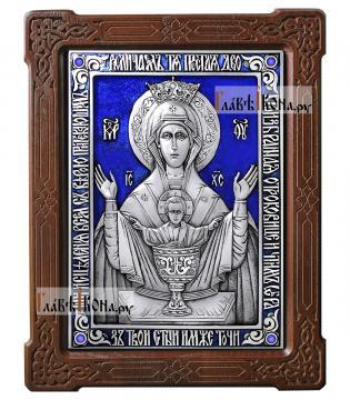 Неупиваемая Чаша, икона из серебра с эмалью, артикул 13175